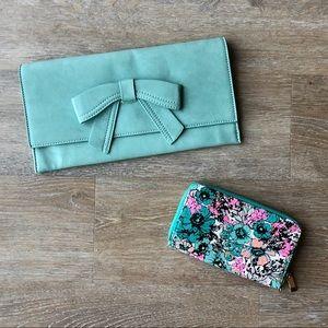 Bundle of Bow Clutch & Floral Zip Phone Wallet